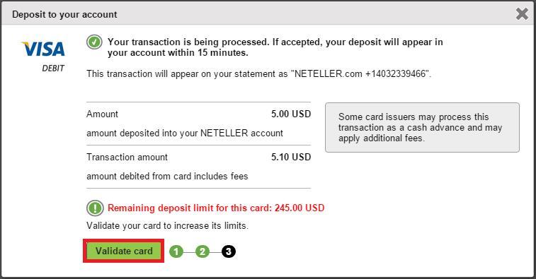 chon validate card - Đăng ký Neteller & Xác minh Neteller tuyệt đối 100% thành công