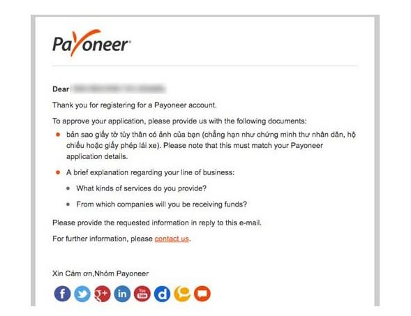 dang ky payoneer 12 - Đăng ký ví điện tử Payoneer nhận 25$ khuyến mãi ngay lập tức