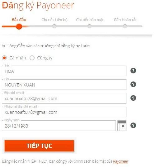 dang ky payoneer 2 - Đăng ký ví điện tử Payoneer nhận 25$ khuyến mãi ngay lập tức