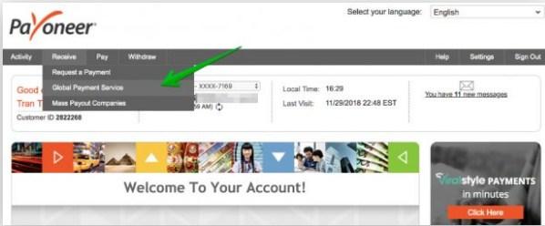 dang ky payoneer 20 - Đăng ký ví điện tử Payoneer nhận 25$ khuyến mãi ngay lập tức