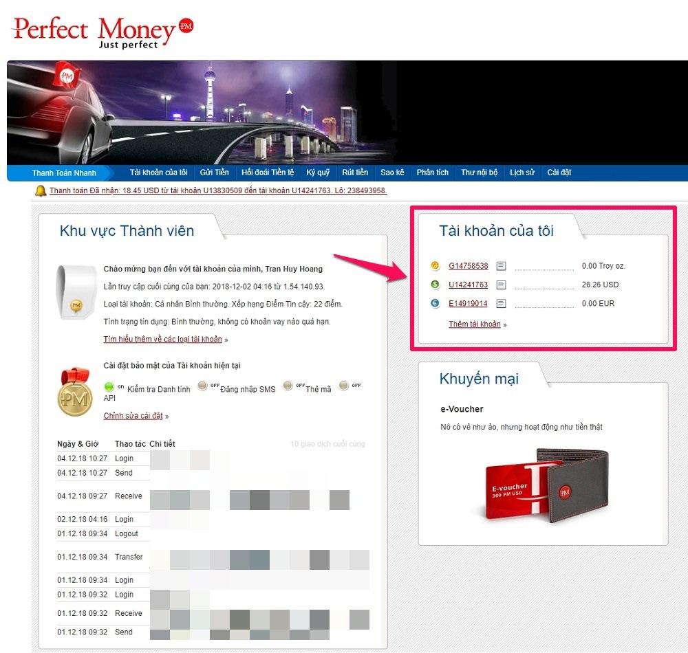 Hướng dẫn cách rút tiền, mua bán tiền Perfect Money chi tiết 3