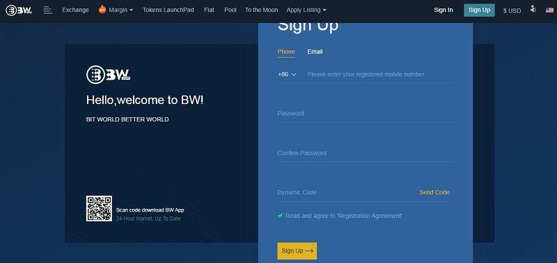 dang ky tai khoan san bw 1 - BW là gì? Hướng dẫn đăng ký, bảo mật, xác minh, nạp/rút tiền, mua bán coin trên sàn BW.com