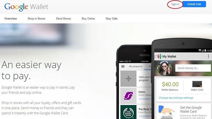 Đăng nhập ví điện tử google wallet