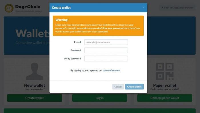Điền đầy đủ thông tin để đăng ký ví điện tử dogecoin