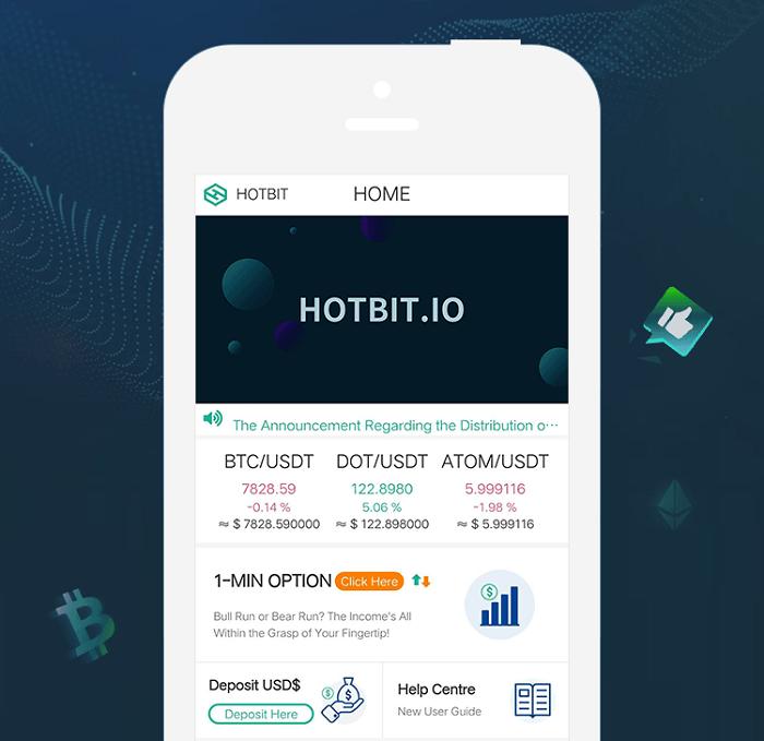 Giao diện Hotbit trên điện thoại di động