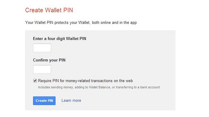 Xác nhận mã pin của ví điện tử google wallet