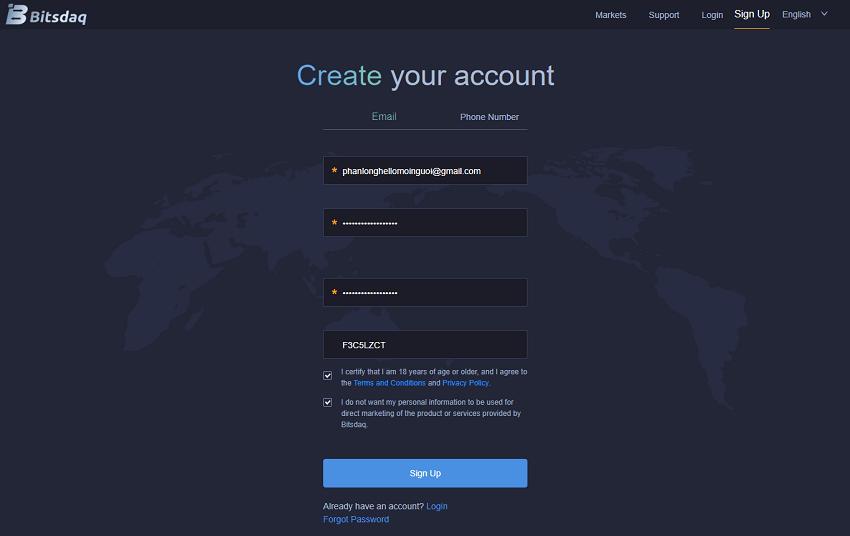 đăng ký sàn Bitsdaq