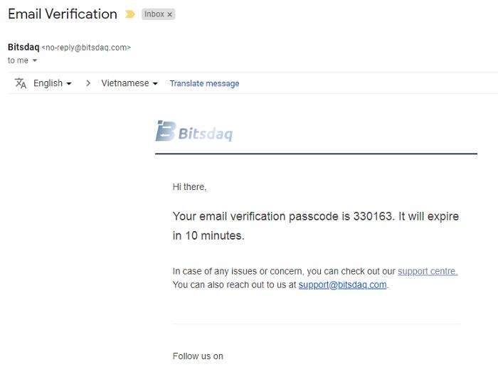 xác nhận code qua email